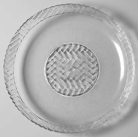 "Arcoroc Clear Glass ""FIESTA"" Basketweave Design Large Dinner Plate -New- Made In"