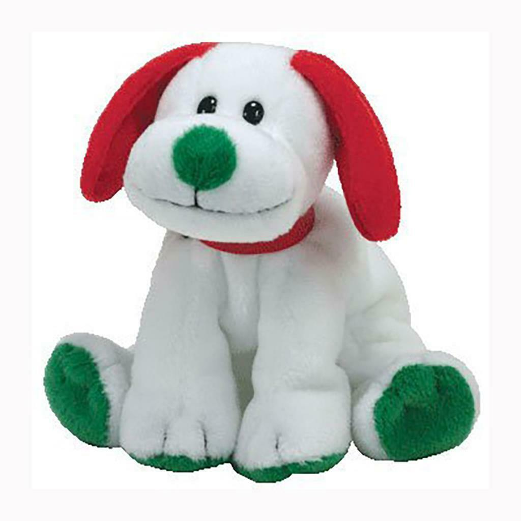 Howlidays White Dog Green Nose Red Ears Ty Beanie Baby MWMT Christmas Retired