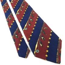 """TOMMY HILFIGER Men's Silk Neck Tie 57.5"""" x 4"""" Striped Blue Burgundy Fish... - $19.39"""