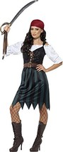 Smiffys Women's Pirate Deckhand Costume,  Shirt, Mock Waistcoat, Skirt, ... - $23.76