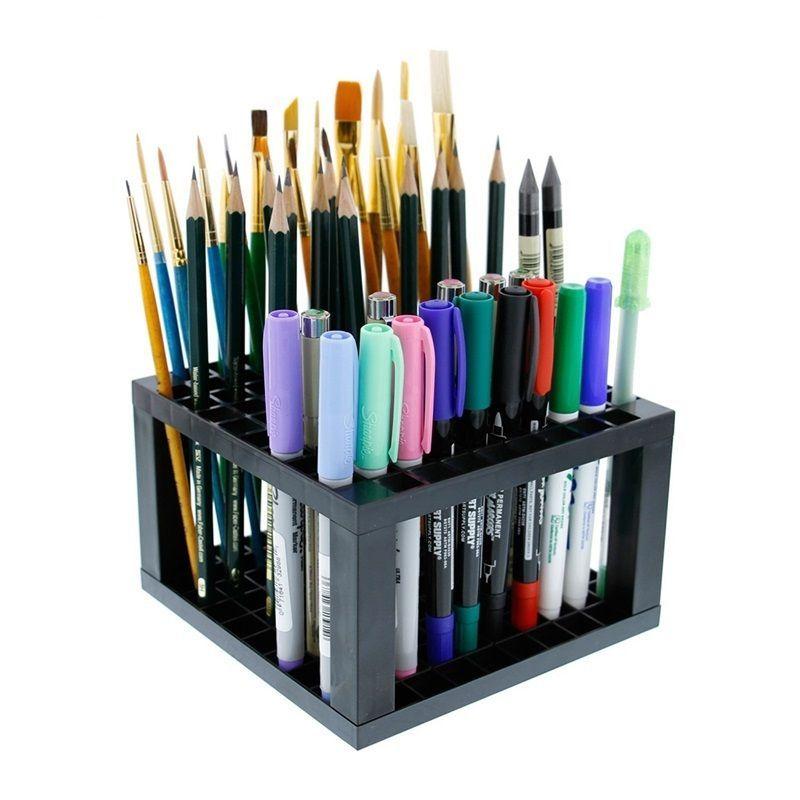 Pencil Holder Pen Paint Brush Plastic 96 Holes Organizer Desk Stand Pens Storage