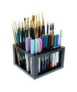 Pencil Holder Pen Paint Brush Plastic 96 Holes Organizer Desk Stand Pens... - $12.54