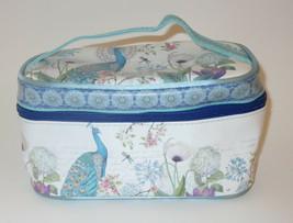 "Peacock Makeup Bag Cosmetic 8"" Blue White Hydrangeas Cherry Blossom Flow... - $19.79"