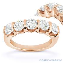 Round Cut Moissanite 14k Rose Gold 5-Stone U-Prong Anniversary Ring Wedd... - €927,11 EUR+