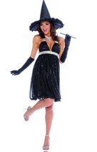 GLAMOUR WITCH Sparkly Sequins Sexy Dress & Hat Adult Small 4-6 Halloween... - $21.77