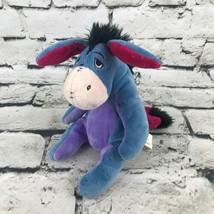 Disney Winnie The Pooh Eeyore Donkey Plush Blue Gray Sitting Stuffed Ani... - $9.89