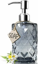Eye-catching Diamond Pattern Gray Glass 12Oz Capacity Soap or Lotion Dis... - $29.00