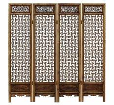 SALES 25% Chinese Vintage Finish Geometric Pattern Wood Panel Screen cs3... - $2,400.00