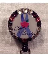 Cystic Fibrosis Badge Reel Id Holder Swarovski Crystals Alligator Clip H... - $10.99