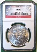 1887 NGC Morgan Silver Dollar. MS62. MG3. - $61.00