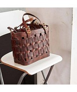 On Sale, Handmade Weaving Tote Bag, Full Grain Leather Handbag, Retro Sh... - $180.00