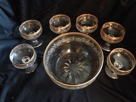 Vintage Glass Set Punch Bowl Six Footed Glasses Gilded Engraved - $125.00