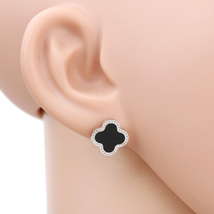 UE-Silver Tone Designer Post Earrings With Trendy Clover & Black Faux Onyx Inlay - $15.99