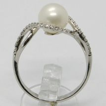 18K WHITE GOLD BAND PEARL ZIRCONIA RING ONDULATE, WAVE, BRAIDED, MADE IN ITALY image 3