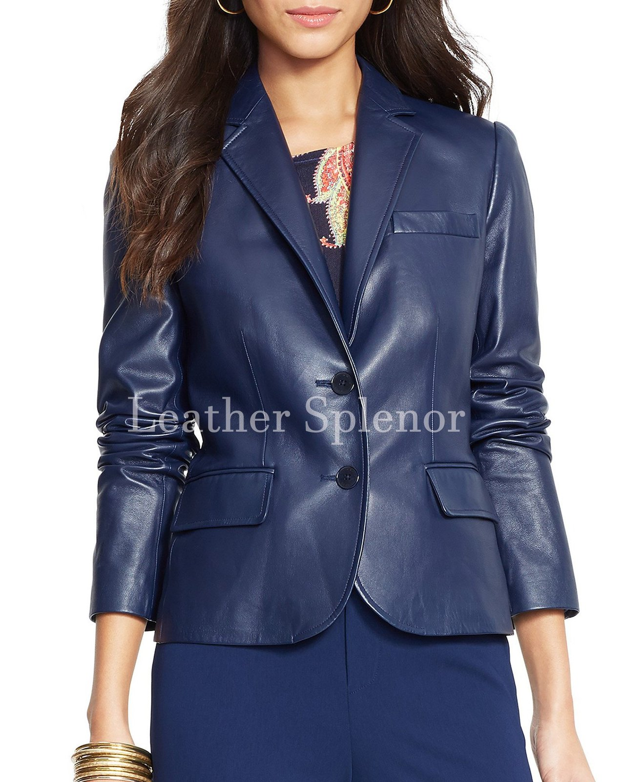 Notch Collar Cropped Women Leather Blazer