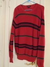 Nautica Men's Size L Red L/S Striped Pullover Sweater 100% Cotton Superb... - $11.58