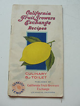 CALIFORNIA FRUIT GROWERS EXCHANGE RECIPES,CULINARY & TOILET,SUNKIST,COOK... - $19.00