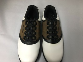 Footjoy Junior Tir Color Saddle White Black And Brown Golf Shoes Youth Size 4M - $9.87