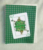 Vintage Queen Christmas Tree Playing Card Christmas or Yule Handmade Car... - $4.20