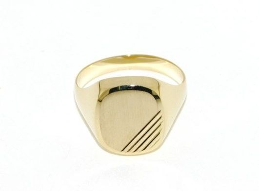 18K YELLOW GOLD BAND MAN RING SQUARE OVAL ENGRAVABLE SATIN SMOOTH MADE IN ITALY