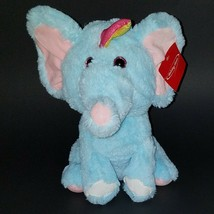 "Blue Elephant Unicorn Plush 11"" Stuffed Animal Toy Lovey SOFT Pink Yello... - $24.70"