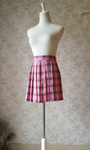 Dressromantic Women Girl Pleated Mini Tartan Skirt Pink Pleated Plaid Skirt