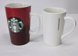 LOT of (2) STARBUCKS COFFEE CO. CERAMIC MUGS 2015 16 oz + 2012 12 oz MER... - $44.88