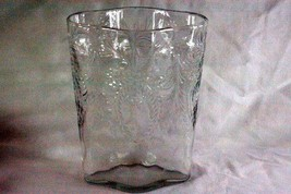 "Clear Glass Wreath And Floral Pattern 8 7/8"" Lobed Body Vase Circa 1940 - $17.32"