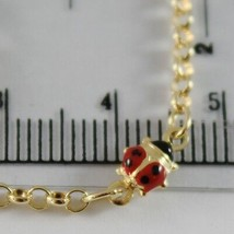 18K YELLOW GOLD GIRL BRACELET 6.70 GLAZED LADYBIRD LADYBUG ENAMEL, MADE IN ITALY image 2