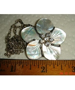 VTG 925 STERLING SILVER DIAMONIQUE MOP FLOWER BROOCH NECKLACE DANGLE EAR... - $267.99