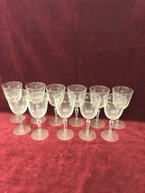 VINTAGE GLASS CRYSTAL WATER/WINE GLASSES STEM STAR DETAIL 11 PIECES MID ... - $55.43