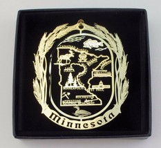 Minnesota State Landmarks Brass Ornament Black Leatherette Gift Box - $16.00