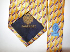 Faberge Silk Neck Tie Yellow Gold des. n. 00153 USA Made Architectural Ornate - $30.42