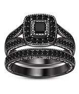 Ladies Bridal Ring Set Black Princess Cut Diamond 14k Black Gold Over 925 Silver - $97.99