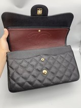 NEW AUTHENTIC CHANEL BLACK CAVIAR QUILTED JUMBO DOUBLE FLAP BAG GHW image 8