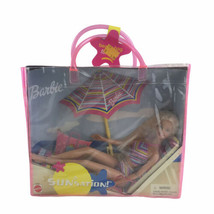 Vintage Beach Chair Umbrella Swimsuit Collectible Barbie Doll Mattel - $23.05