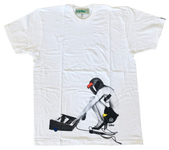 Triko Mens White Fast Racer Sexy Girl w Helmet Electronic Music Keyboard T-Shirt image 1