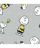 Fabric-Snoopy and Charlie Brown on Gray -Springs Creative #CP-68133 - $9.50