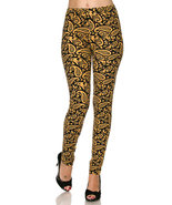 Brushed Gold Paisley Print Plus Size Ankle Legg... - $16.00