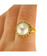 18k Vintage Gold Pearl Ring with Halo Diamonds UK size O BHS - $1,001.54