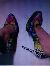 Iris Pink Stilettos 9.5 heels women shoes Nine West leopard flower green black y - $40.00