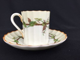 Royal Worcester Florence Demitasse Cup Saucer Reproduction Of Early Item T1 - $23.33