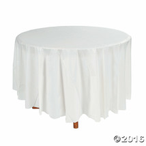 "White Round Table Cover - Tableware & Table Covers 84"" - $7.12"