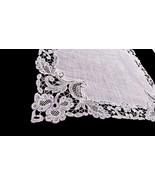 1920s Fine Antique White Linen Handkerchief Intricate Handmade Needle La... - $28.90