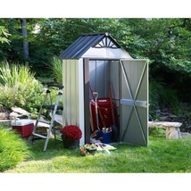 Metal Storage Shed Compact Lockable Door 4 x 2 Galvanized Steel Outdoor ... - $394.85