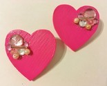 Pink Wood Earrings Handmade Heart Rhinestone Beads Sparkle Post Pierced NWT Gift