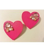 Pink Wood Earrings Handmade Heart Rhinestone Beads Sparkle Post Pierced ... - $28.00