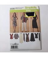 Simplicity 3506 Size 10-18 Misses Dress Top Skirt Pants Jacket Tie Belt - $11.64