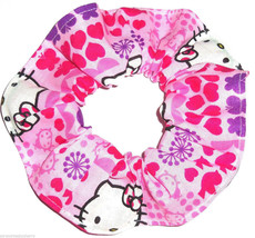 Hello Kitty Pink Hearts Fabric Hair Scrunchie Scrunchies by Sherry Ponytail Tie - $6.99