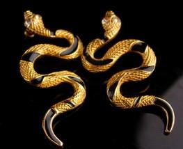 Vintage Snake Earrings - rhinestone eyes - gold Black stripes - cleopatr... - $95.00